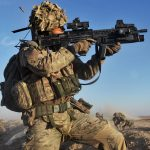 A soldier with the 4th Mechanised Brigade is pictured engaging the enemy during Operation Qalb in Helmand, Afghanistan.