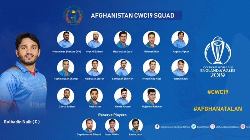 ترکیب تیم ملی کرکت افغانستان برای جام جهانی ۲۰۱۹ اعلام شد